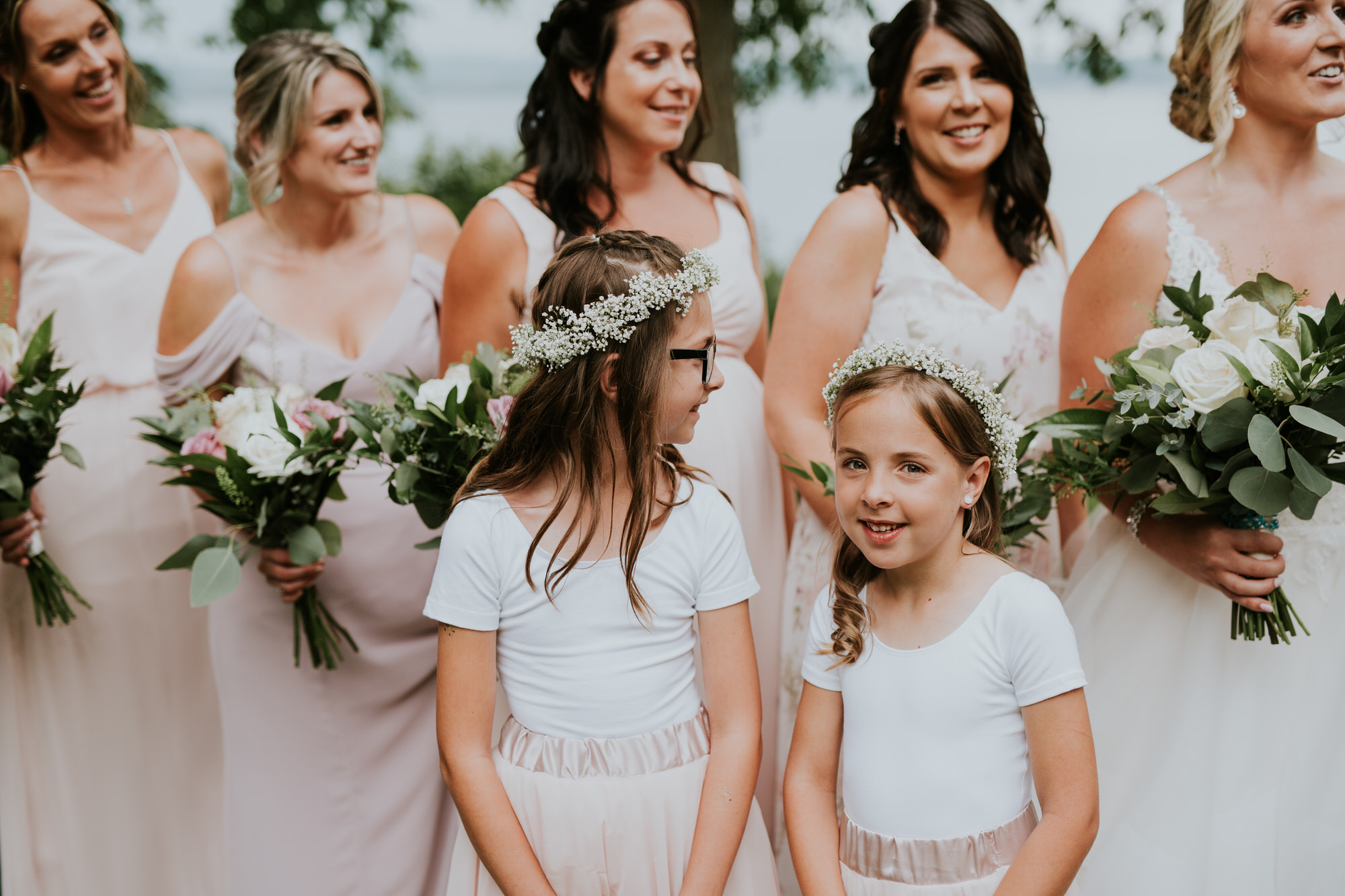 Elmhirst Resort Wedding - Bridal party portrait with flower girls