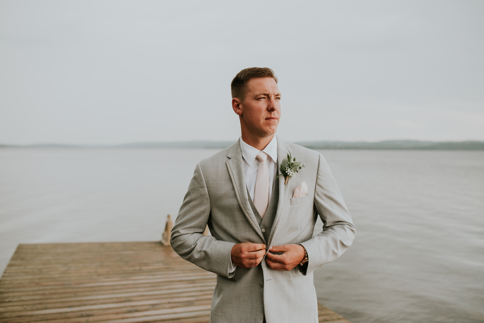 Elmhirst Resort Wedding - groom on the dock