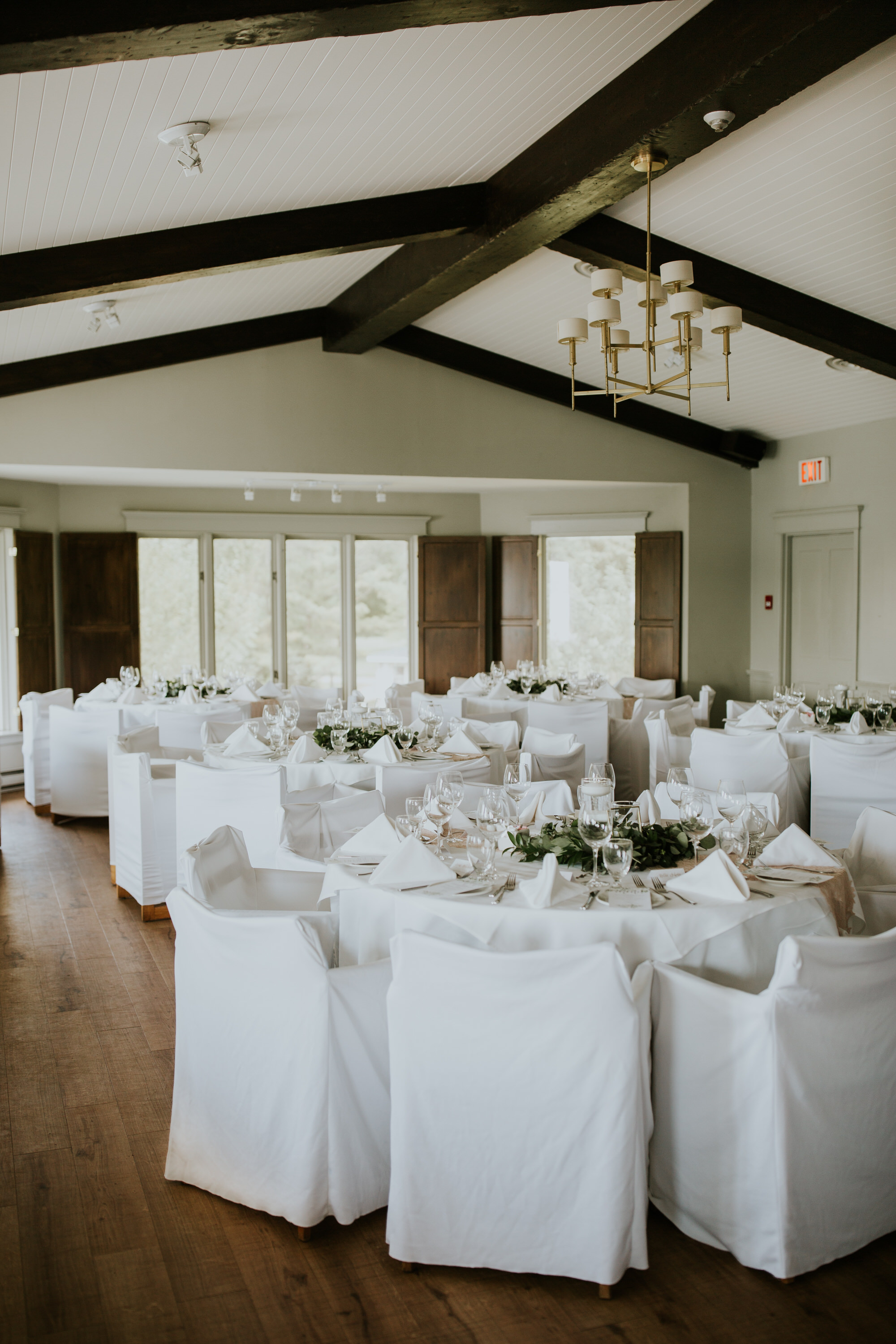 Elmhirst Resort Wedding - white reception decor